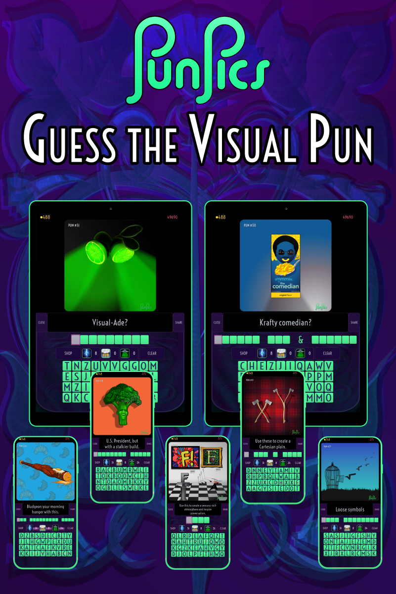 Download and play the PunPics game on your tablet or smartphone.